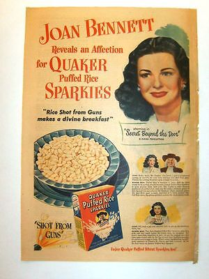 1947 -3 ads for QUAKER Puffed Rice- Dorothy Lamour, Jimmy Stewart, Joan Bennett