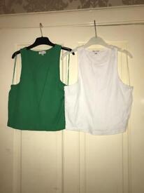 Ladies green & white crop tops