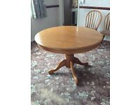 Pine table and 4 chairs great condition