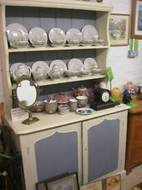 VINTAGE ORNATE CHALK PAINTED 'WELSH DRESSER'. TOP DETACHABLE. VIEWING/DELIVERY AVAILABLE