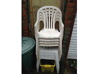 x6 White Plastic Patio Chairs