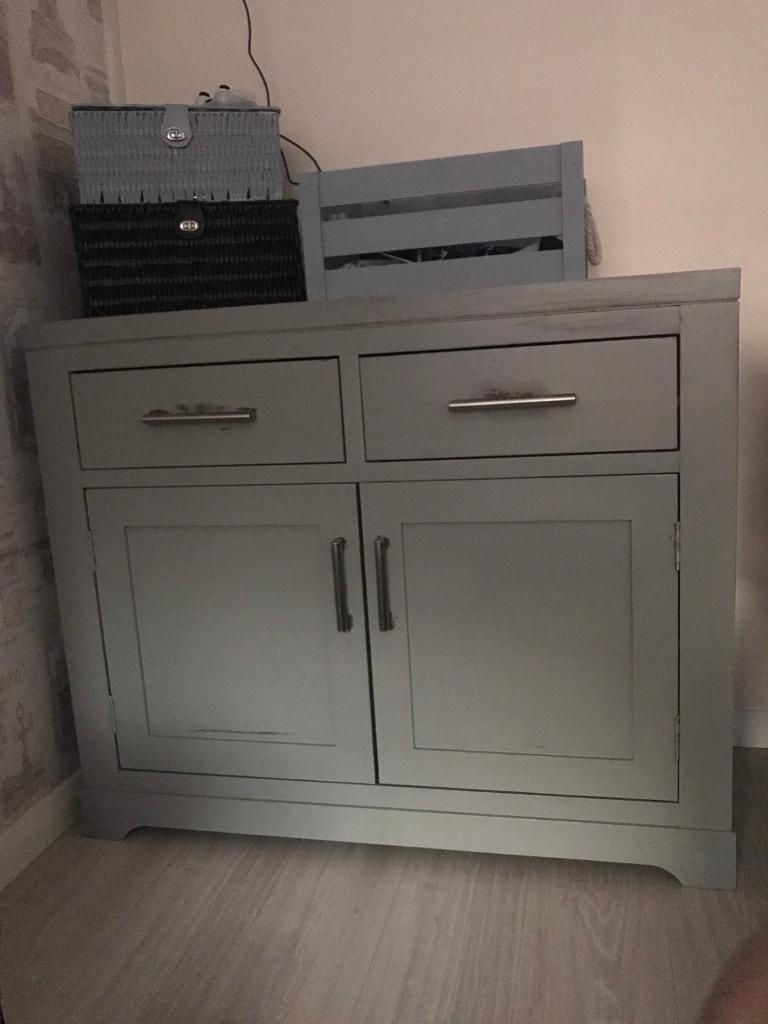 Solid wood grey painted cabinet