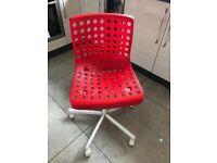 2 x Ikea Skalberg/Sporren swivel chairs RED & WHITE