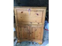 Pine cabinet/office or craft workstation/lockable storage ideal shabby chic paint project