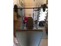 Body Max Weight bench and weights with bar