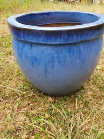 Ceramic blue flower pot 35cm diameter