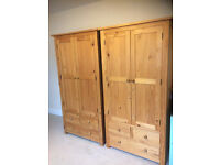 Pine Gents Double Wardrobe With Draws