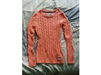 Superdry cable knit pink jumper size medium brand new