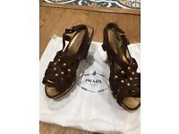 Prada size 51/2 wedge heels