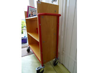 Library Book Trolley, Red frame, beechwood shelves, 100 book capacity, on good casters for moving