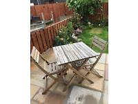 Small folding garden furniture table and two chairs