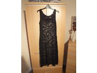 Phase Eight Lacy Black dress with underslip. As New Size 12