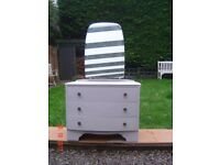 Retro / Shabby Chic Dressing Table. With Three Drawers and a Large Mirror. Can Deliver.