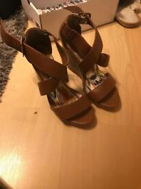Brown wedges size 4 new look
