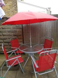Garden/patio table, 4 chairs and parasol set-Red