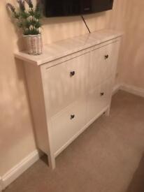 White Ikea Hemnes wall chest/ shoe rack cupboard