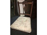 Adorable Antique Edwardian Ornately Carved Nursing Bedroom/Hall Chair