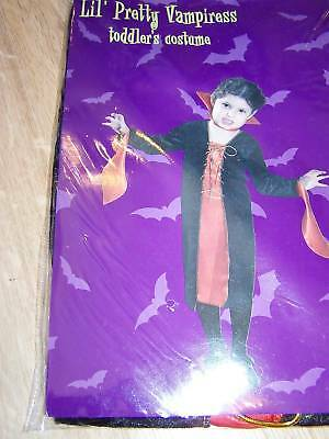 Toddler Size 2-4 Years Vampiress Vampire Girl Halloween Costume Dress New (Toddler Vampire)