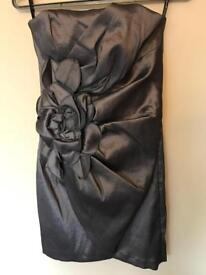 Jessica McClintock (UK10) Charcoal Grey Strapless Cocktail Party Dress