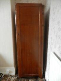 single, solid wood, vintage wardrobe with lockable door