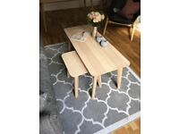 Ikea coffee table and side table.