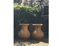 4 Mediterranean Terracotta Garden Pots Used - 3 Large and 1 Small