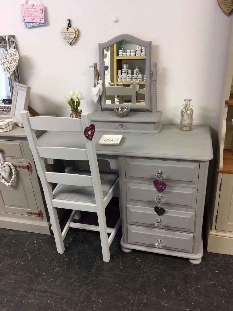 Solid Country Pine Dressing Table, Mirror & Chair