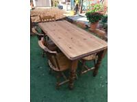 Solid pine dining table with 5 chairs. Possible delivery