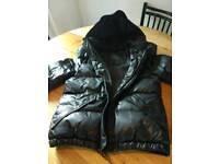All saints ladies black hooded bomber jacket