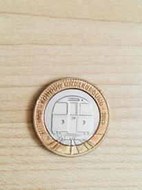2 pound coin London Underground train 2013.