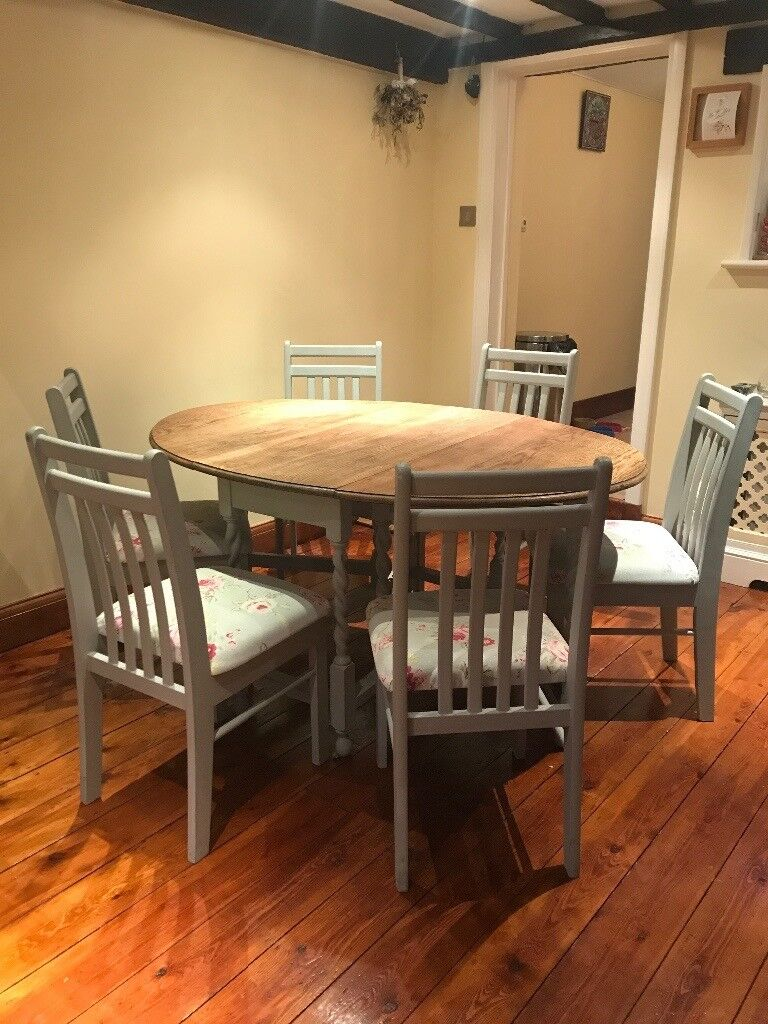 Shabby Chic Gateleg Oak Dining Table 6 Vintage Chairs KENT