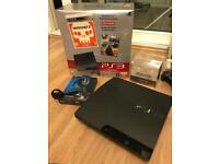 PS3 320GB, 4 controllers, charger, 24 games, wireless headset, remote control and wireless keypad