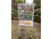 Large Bird Cage with wheeled stand & toys