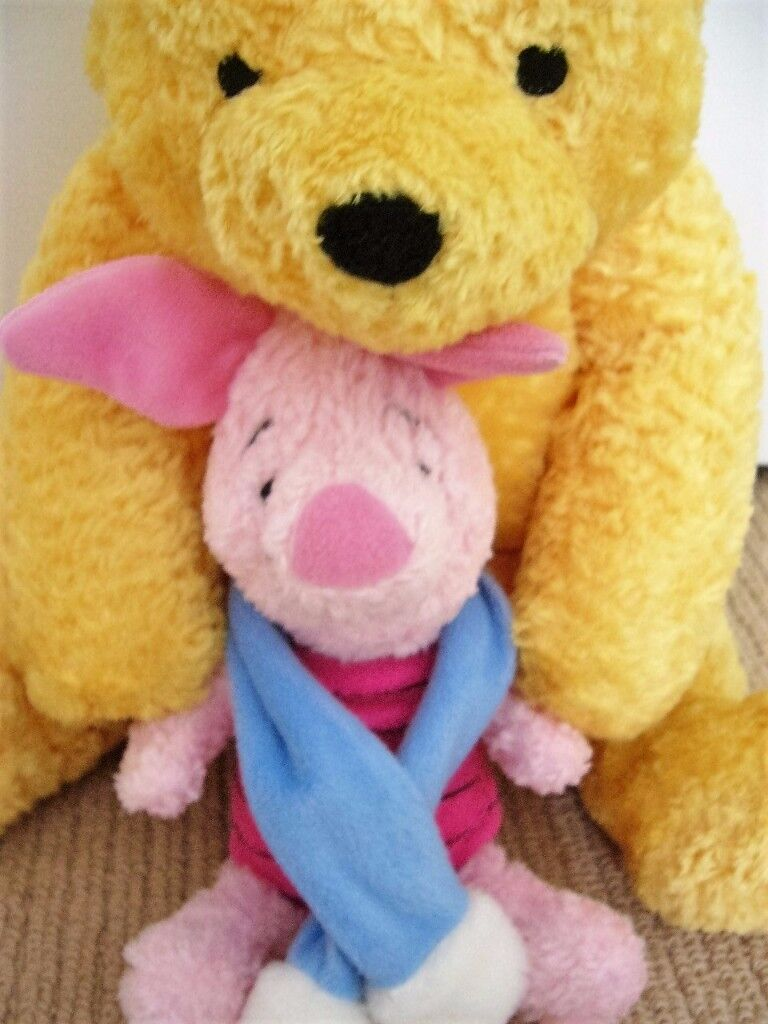 Large 45cm Winnie The Pooh nightdress pj case(soft cushion insert) with detachable Piglet - Mint