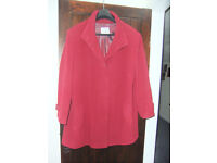 Ladies red 3/4 length coat by GELCO size 24
