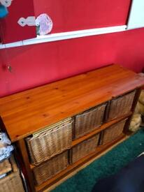 Large Solid Wood Cabinet/Bench With Wicker Baskets