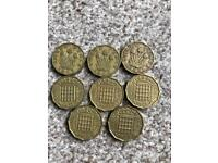 8 three penny coins