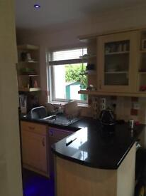 Kitchen, oven, silver dishwasher and silver fridge freezer - sold