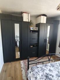 Wardrobe x 2, bedside cabinet x 2, bed frame, under bed storage