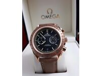 Rose gold Omega darkside of the moon with brown leather strap comes Omega Bagged And Boxed