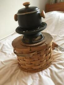 Lovely Fondue Set in a Basket