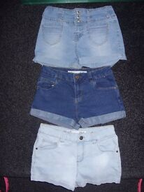 Girls denim shorts bundle, age 10-11 years