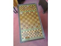 Coffe table with chess board inlay / Glass top