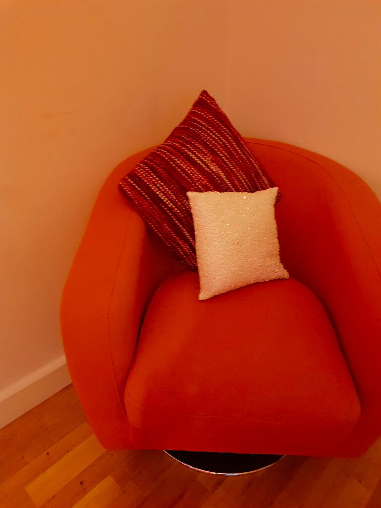 Orange Fabric Swivel Chair From Dfs 100 Or Best Offer
