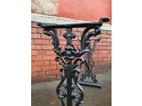Vintage industrial cast iron Table legs machinist base stand. Dining table