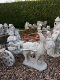 Concrete Donkey and Cart with Boy/Girl