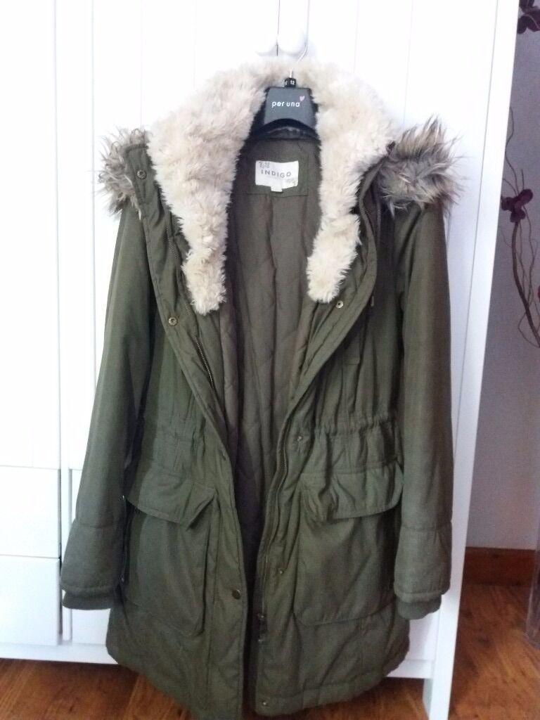Green parka coat size 12