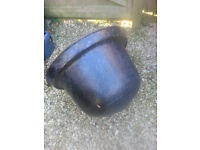Vintage large cast iron cauldron pot planter