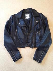 Girls black faux leather biker jacket 9yrs