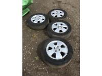 """vauxhall 15"""" alloy wheels 4x100 5 spoke rims set of 4"""